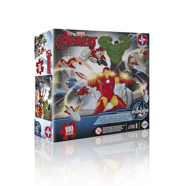 Super Quebra-Cabeça 3D Avengers 100 peças Embalagem Estrela