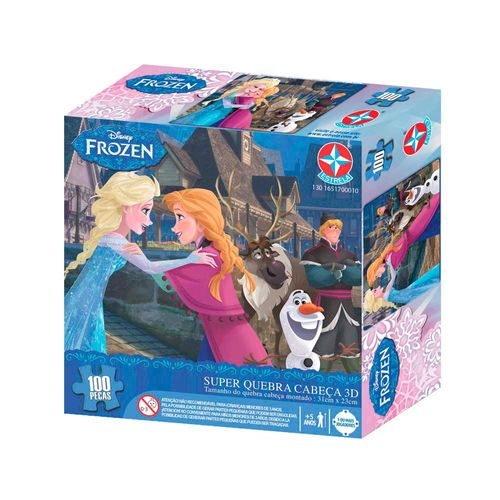 Super Quebra-Cabeça 3D Frozen 100 peças Embalagem Estrela