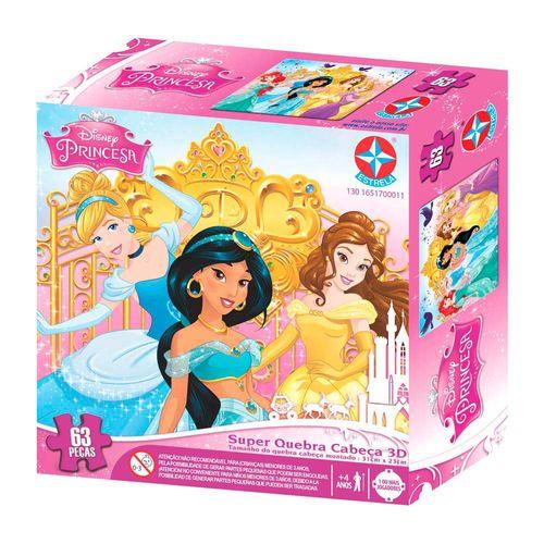 Super Quebra-Cabeça 3D Princesas Disney 63 peças Embalagem Estrela