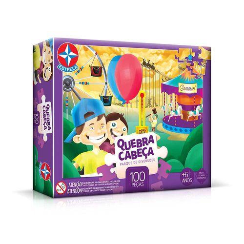 Quebra-Cabeça Parque de Diversões 100 peças Embalagem Estrela
