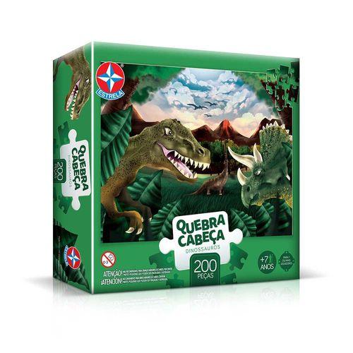 Quebra-Cabeça Dinossauros 200 peças Embalagem Estrela
