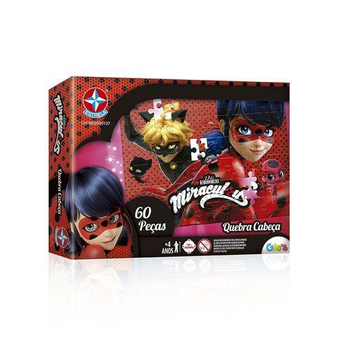 Quebra-Cabeça Ladybug Miraculous 60 peças Embalagem Estrela