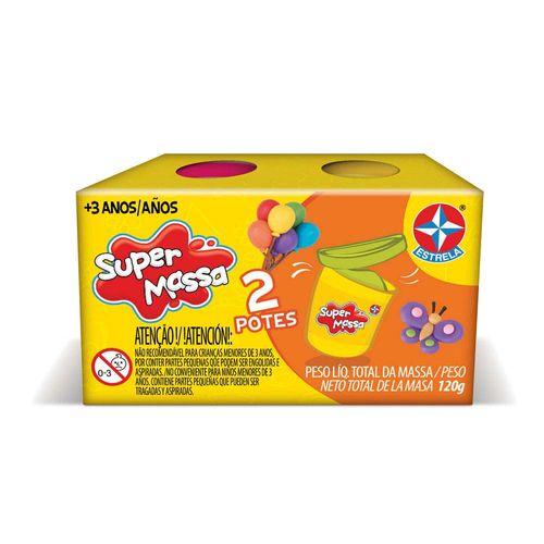 Massinha Super Massa 2 Potes Rosa e Amarelo Embalagem Estrela