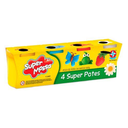 Massinha Super Massa 4 Super Potes Embalagem Estrela