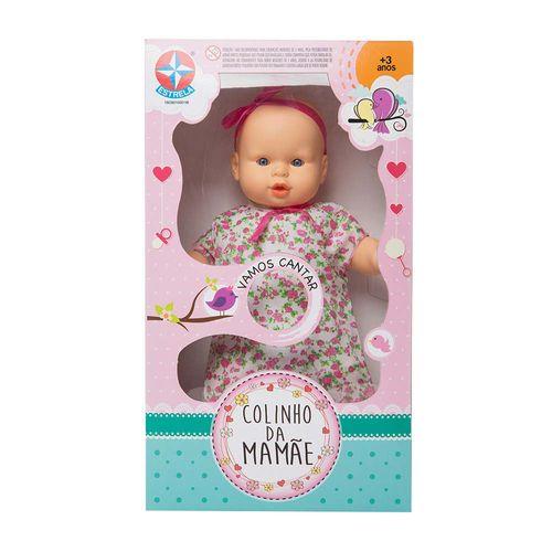 Boneca Colinho da Mamãe vestido florido que canta 43 cm Embalagem Estrela