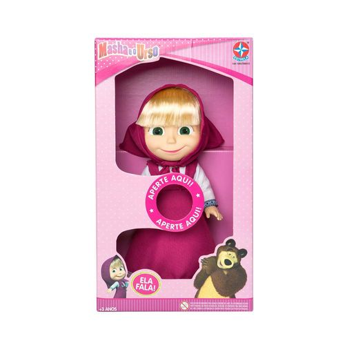 Boneca Masha que fala 35 cm frontal Embalagem Estrela