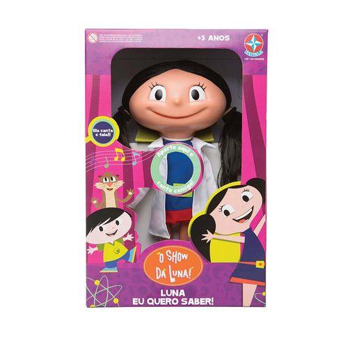 Boneca Luna Eu Quero Saber que fala 40 cm Embalagem Estrela