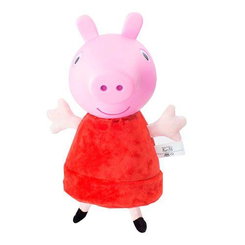 Pelúcia Peppa Pig cabeça de vinil com som 34 cm frente Produto Estrela