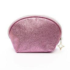 Necessaire-Meia-Lua-Glitter-Rosa-frente-Produto-Estrela-Beauty