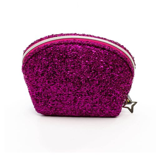 Necessaire-Meia-Lua-Lurex-Pink-frente-Produto-Estrela-Beauty